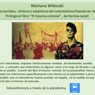 Jueves 30 de abril: Mariana Wikinski -Inscríbase aquí