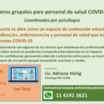 Encuentros grupales para personal de salud COVID-19